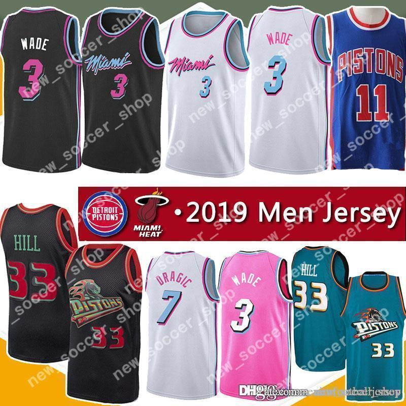 separation shoes 872e1 78901 Miami Mens Heat Jerseys Dwyane 3 Wade Goran 7 Dragic 21 Whiteside Detroint  Grant 33 Hill Pistons 11 Isiah Thomas 10 Dennis Rodman