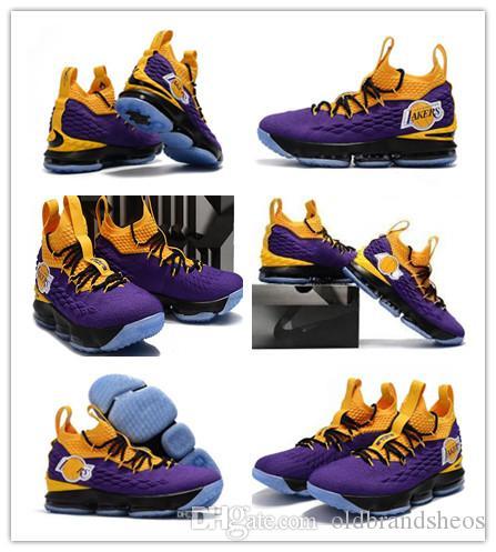 b7e564269f1d8 2019 New LeBron 15 XV EP Los Angeles Home Yellow Purple Orange ...