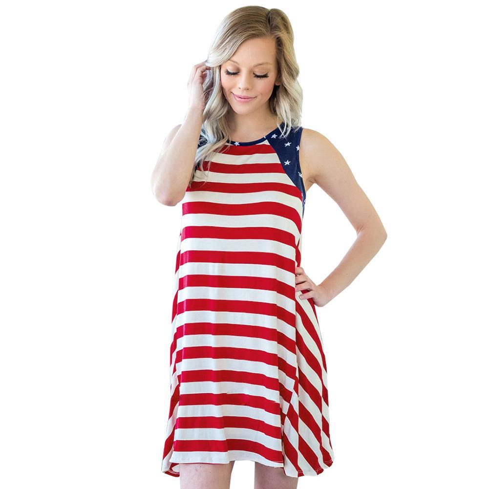 ca40ad74a5 Compre 2019 Nueva Moda Vestido De Rayas De Las Mujeres Rayas De La Bandera  Americana Imprimir Chaleco Vestido O Cuello Sin Mangas Partido Mini Vestido  De ...