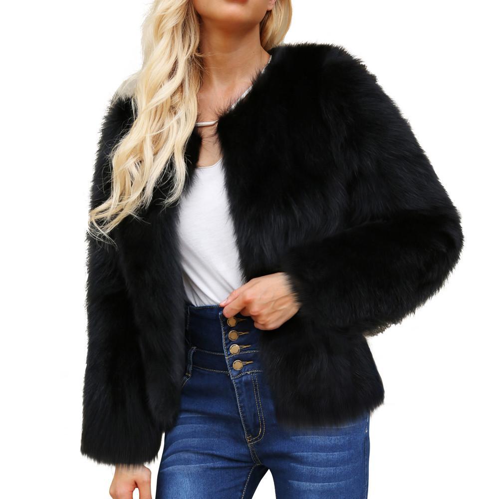 9c4540a855 Faux Fur Coat Women Female Jacket Long Sleeve Solid Short Jackets ...