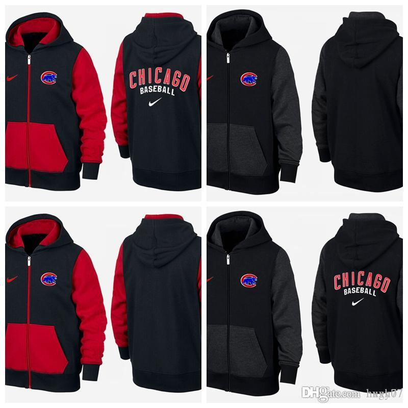 huge selection of 4b72e f5071 Men's Chicago Cubs Red and black double color Logo Performance Pullover  Hoodie