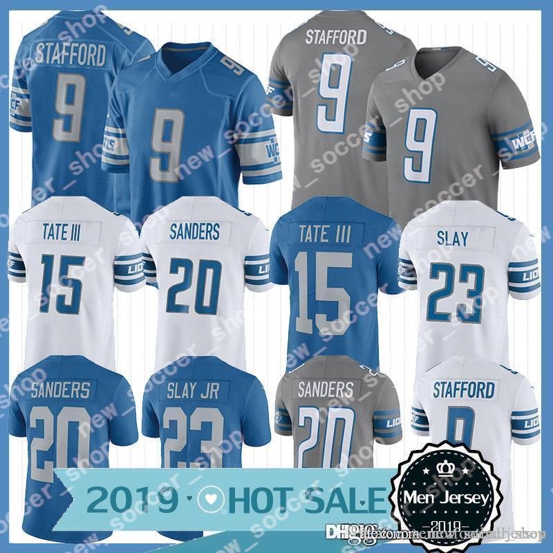 promo code 8224b 7eeab 9 Matthew Stafford Jersey Detroit Mens Lions 23 Darius Slay JR 20 Barry  Sanders 15 Golden Tate III Football Jerseys 2019 Hot sale