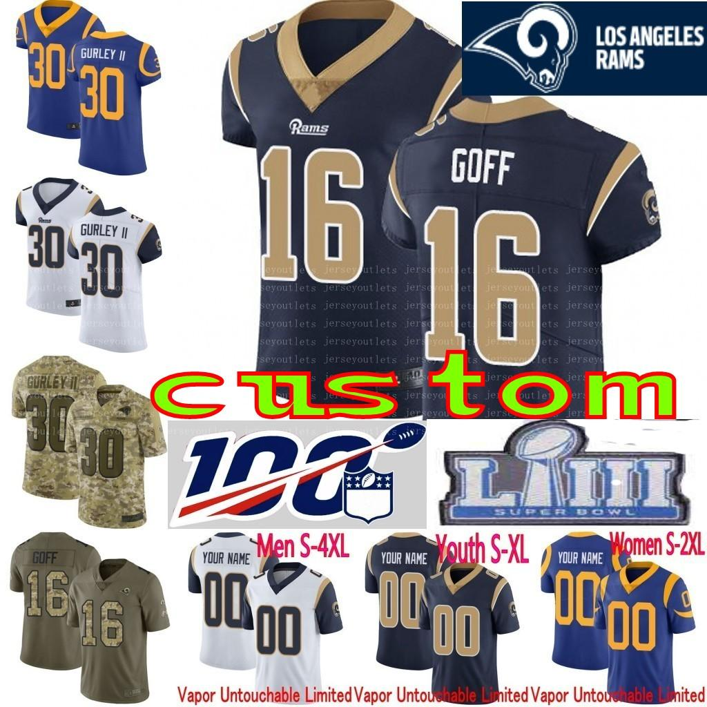 new product 40408 92049 100th anniversary custom Men Youth women Todd Gurley II Aaron Donald Jared  Goff Marcus Peters Eric Kupp Camo Rams Elite Limited Jersey 01