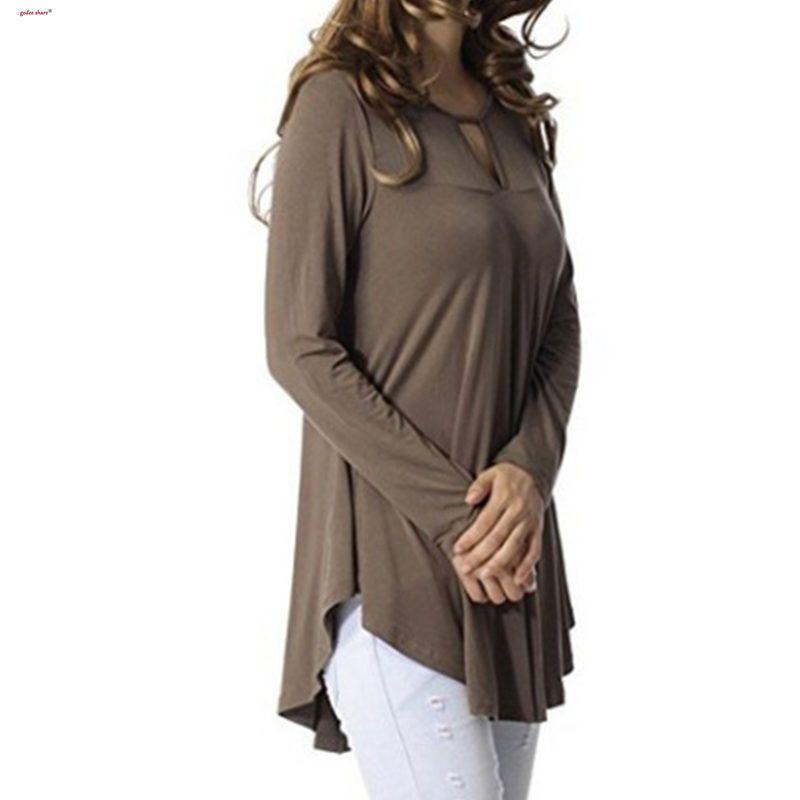2019 осень Майка женщины полный рукав твердые Сплайсированные all-матч свободные топ длинные футболки большой размер Женская одежда S-5XL