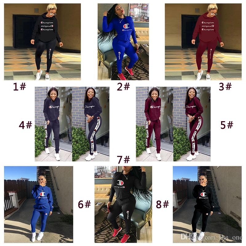 cfeb46c8ec Women Champions Tracksuit Autumn Long Sleeve T Shirt Pants Tights Leggings  2 piece Sportswear Brand Sports GYM Joggers Clothes