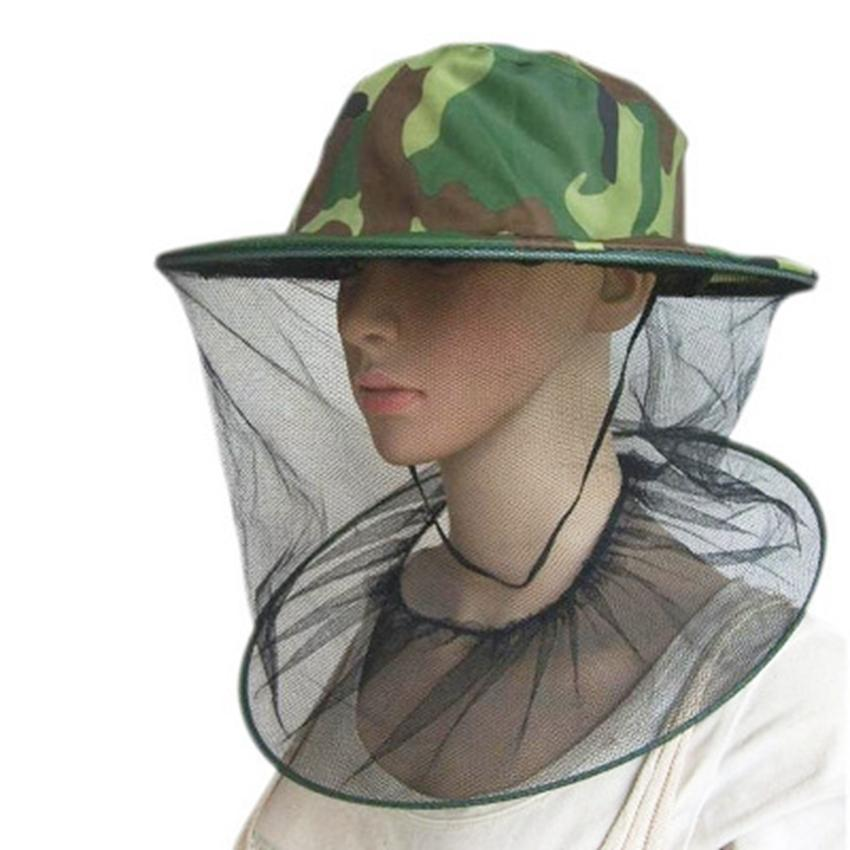 Outdoor Camouflage Cap Sun Protection Fishing Hats Insect Bee Mosquito Resistance Bug Net Mesh Head Face Hat ZZA410