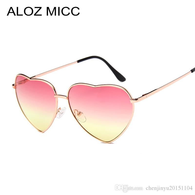 eb03e29805 ALOZ MICC 2019 Heart Shaped Sunglasses Woman Lovely Shades Sun Glasses For  Women Candy Color Metal Frame Girl Sunglass Mirror Lunette Soleil  Knockaround ...