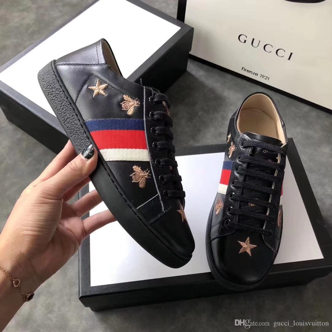with Box Only Sell High Quality GUCCI Shoes Luxury Embroidered White Bee  Genuine Leather Sneaker Mens Women Shoes SNEAKERS 624 Ash Blonde Hair  Extensions ... 140d5ef9bd3a