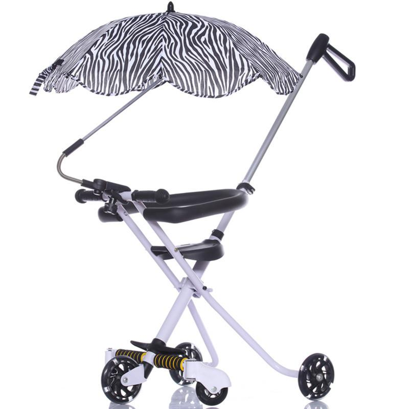 Five Flash Wheels Baby Umbrella Car Baby Walking Carrier Children Trolley Portable Folding Three Wheels Stroller Tricycle 1-6 Y Mother & Kids Activity & Gear