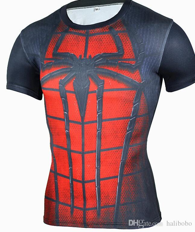 2019 GYM 3D Digital Printed Superman Short Sleeve T-shirt Spider-Man Sports Tights for Men