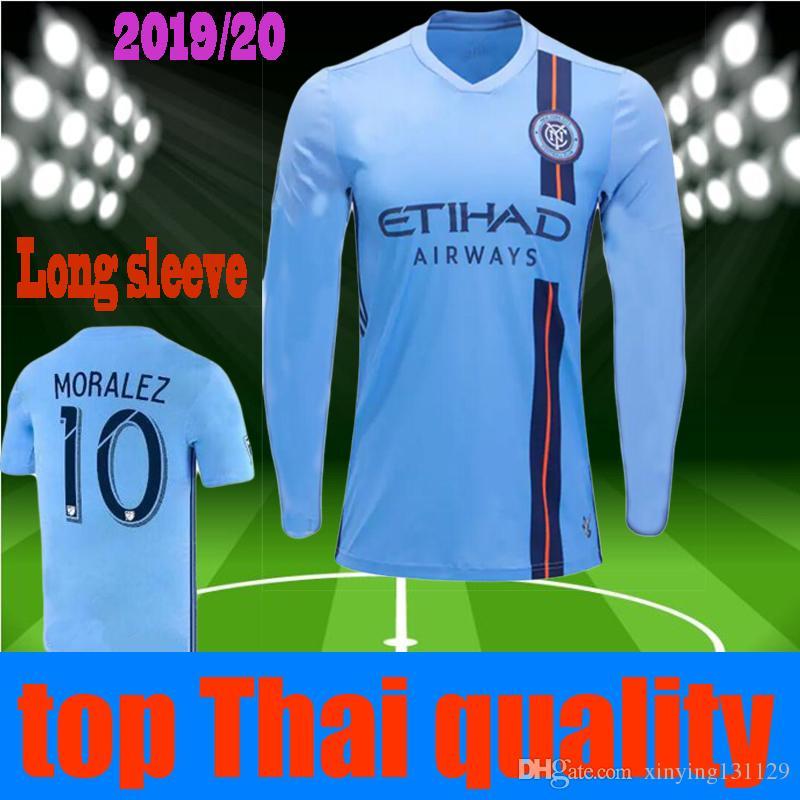 04f9f0142 2019 19 20 LONG SLEEVE NEW YORK CITY FC Soccer Jersey 2019 2020 Home Blue  Nycfc MITRITA Ring MATARRITA MEDINA MORALEZ 10 Football Shirts From  Xinying131129