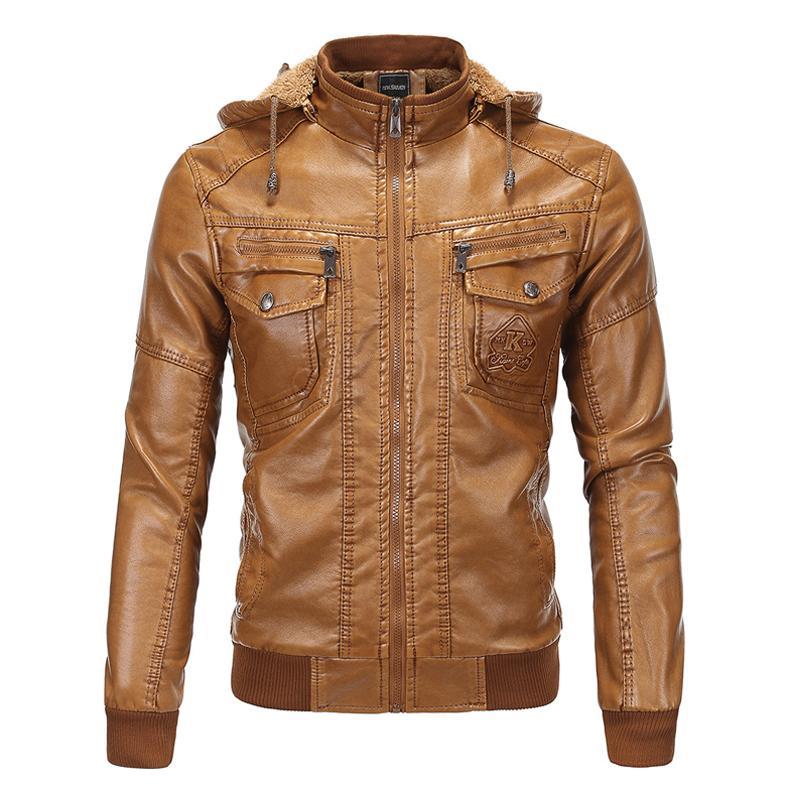 49c2737961f Hooded Leather Jacket Men Winter Leather Faux Fleece Detachable PU ...