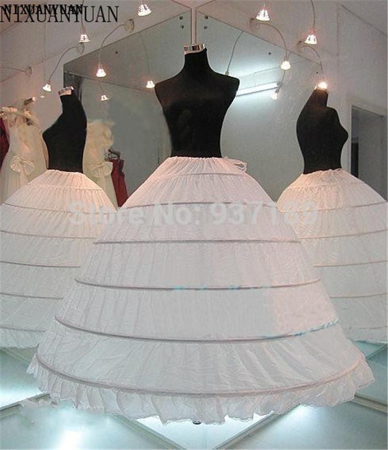 wholesale 2019 HOT sale 6 Hoop Petticoat Underskirt For Ball Gown Wedding Dress Underwear Crinoline Wedding