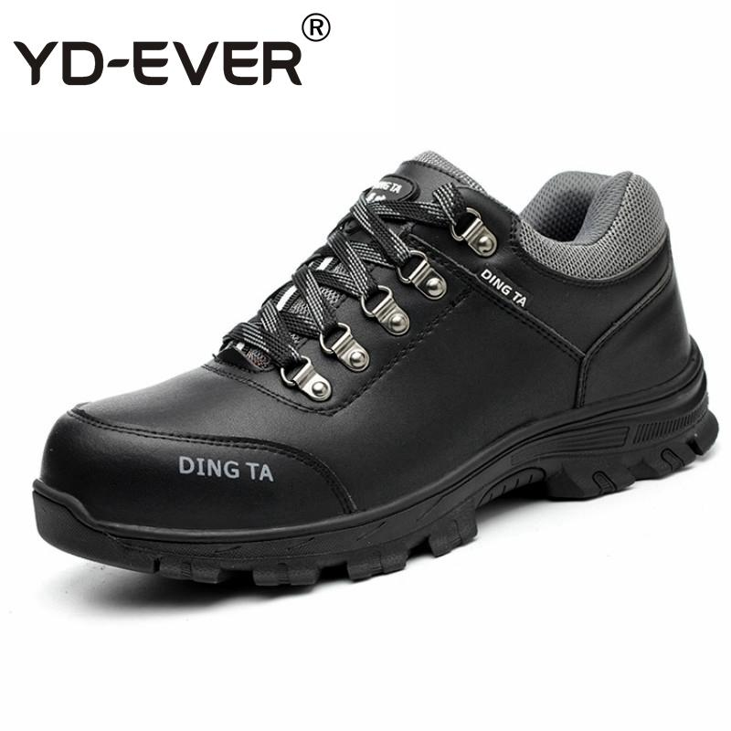 5eed52e3f4e040 Mens Casual Big Size Breathable Steel Toe Cap Working Safety Summer Shoes  Cow Leather Anti Pierce Tooling Security Boots Sapatos Slipper Boots Ankle  Booties ...