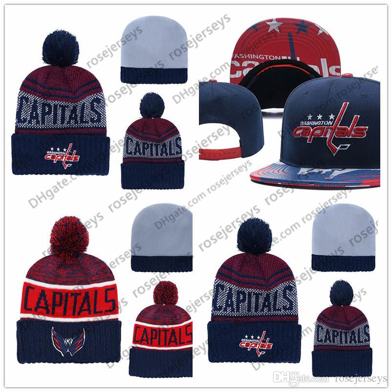 fe14c594dee 2019 Washington Capitals Ice Hockey Knit Beanies Embroidery Adjustable Hat  Embroidered Snapback Caps Black Gray White Red Stitched Hats One Size From  ...