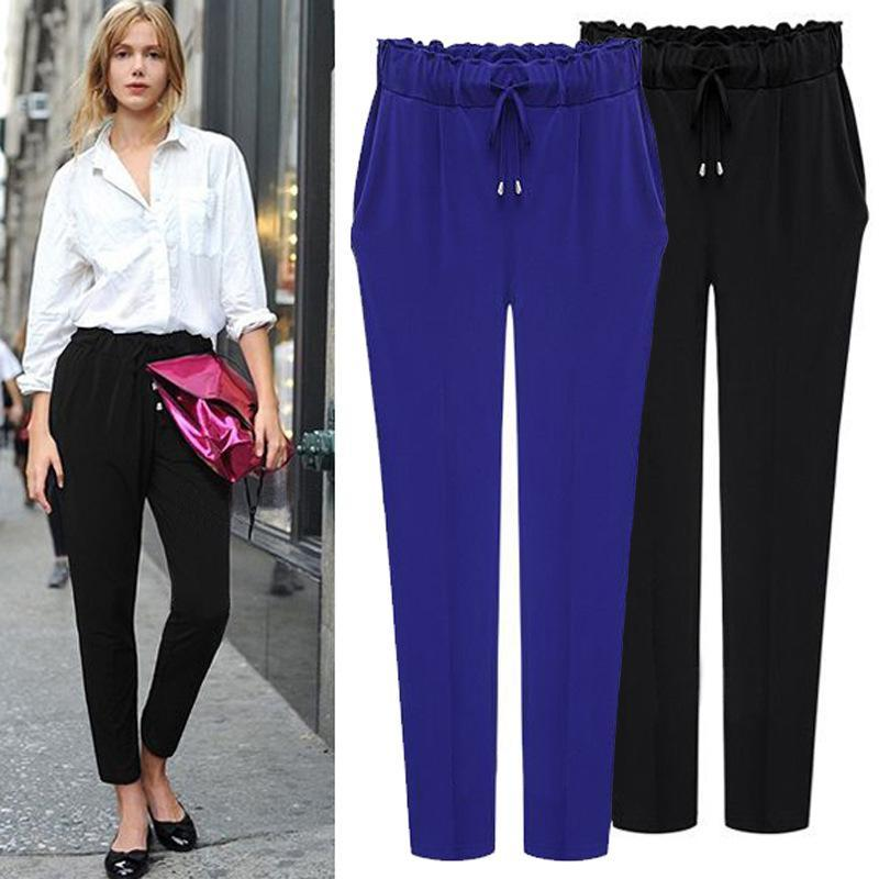 993f1685a34 Plus Size Women Pants 2017 Fashion Elastic Haren Solid Color Trousers Leggs  Blue Black Casual Pant Legging