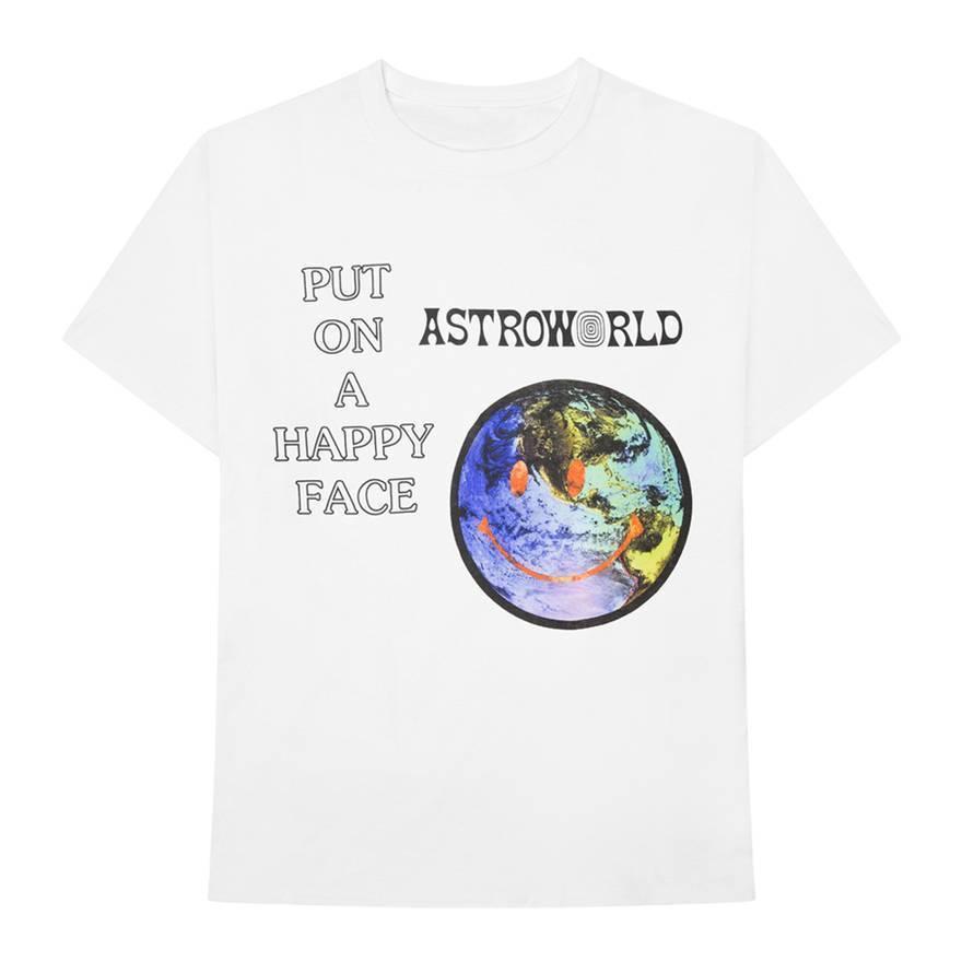nouveau concept 207a0 258f8 Astroworld mettre sur un visage heureux T shirt coton blanc hommes taille  M-3XLFunny livraison gratuite Unisexe Casual Tshirt top