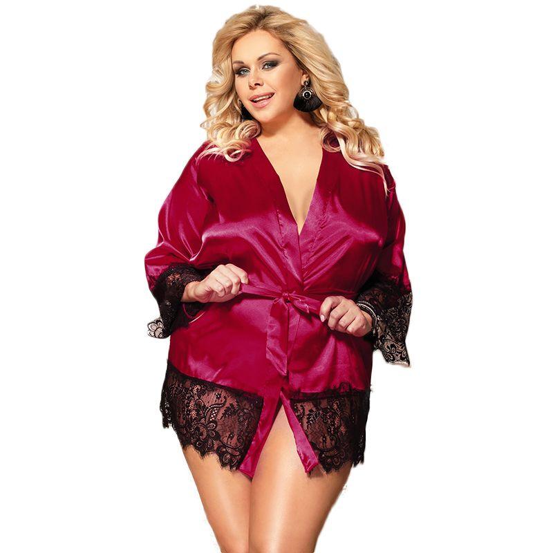 3b47d2eb87ed Acquista Kimono Le Donne Robes Di Seta A Maniche Lunghe In Raso Blu Nero  Rosso Plus Size Abito Di Pizzo Lingerie Abito Di Pizzo Solido Vestaglia  R80558 A ...