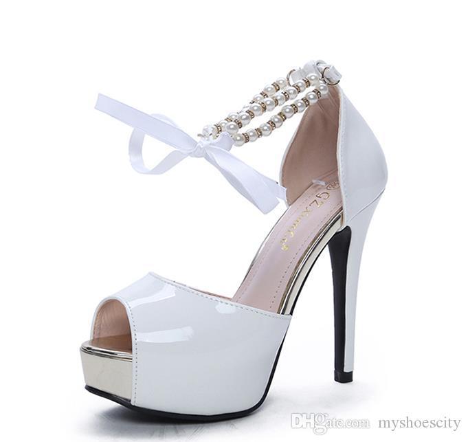 sapatos de noiva elegantes brancos plataforma preto peep toe mulheres de salto alto vestido de tamanho sapatos de 34 a 39