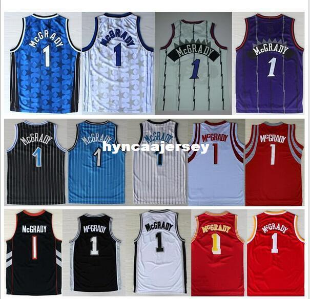 the best attitude 16c74 7ca86 Tracy McGrady Jersey #1 Retro White Purple Black Red Blue Star Cheap Retro  Basketball jerseys High Quality Ncaa