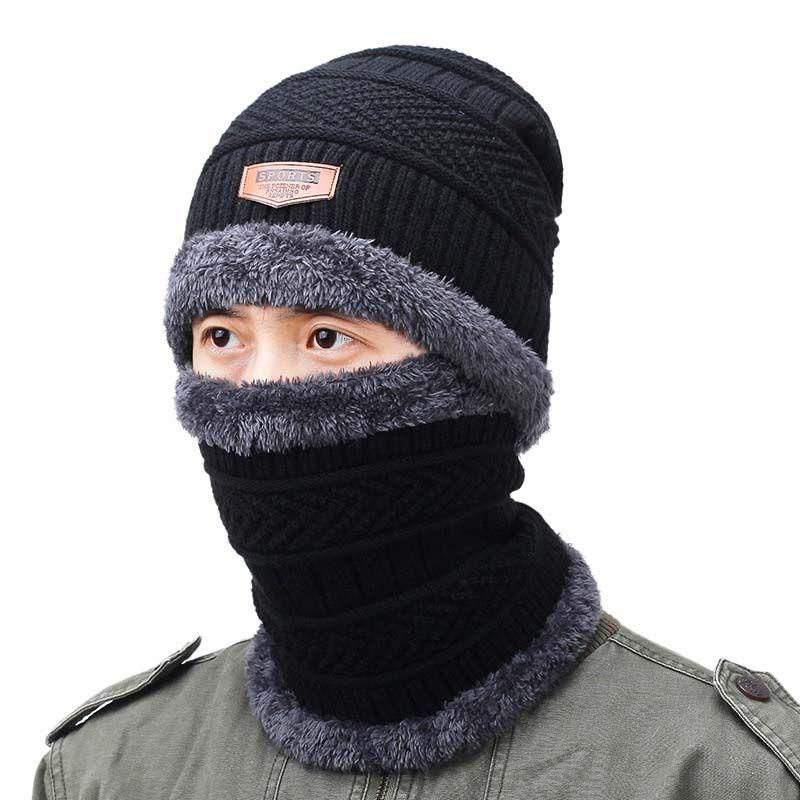 2019 Neck Warmer Knitting Hat Scarf Set Thick Plush Warm Knit Beanies  Balaclava Winter Hat For Men Women Cap Skullies Bonnet From Silviastore 4ee7bb2dc6c8