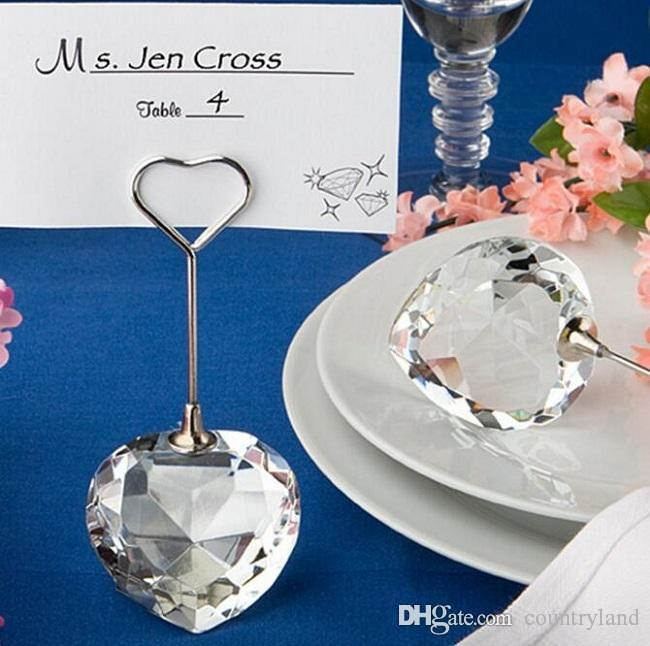 100pcs Heart ball crystal place card holder Wedding favor and gift for guests Wedding table name card holder seat clamp wa4045 20180920#