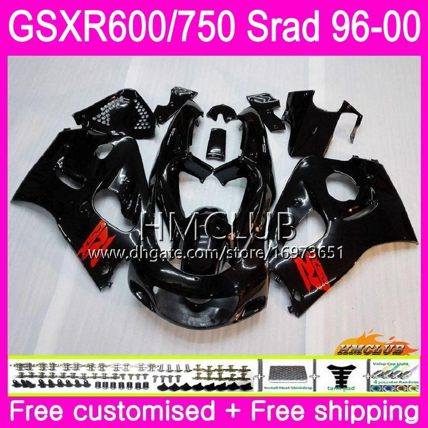 Body For SUZUKI SRAD GSXR 750 600 1996 1997 1998 1999 Gloss black 2000 Kit 1HM.1 GSX-R750 GSXR-600 GSXR750 GSXR600 96 97 98 99 00 Fairing