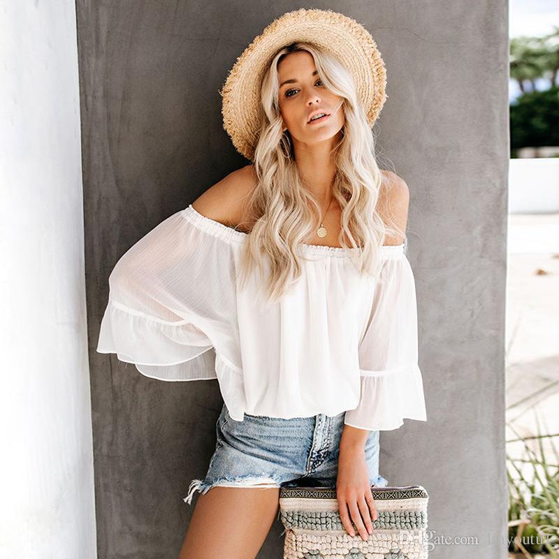 9ae65c132fb Sexy Women Casual Boho Off Shoulder Shirt Summer Crop Tops White Chiffon  Shirt Trumpet Sleeves Female Harajuku Elegant Blouse T Shirts Shopping  Really Funny ...