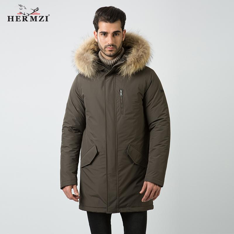 HERMZI 2019 Mens Winter Jackets And Coats Cotton Padded Coat Mens Fur Parka Raccoon Fur Men Parka Homme Thick Winter Long Jacket