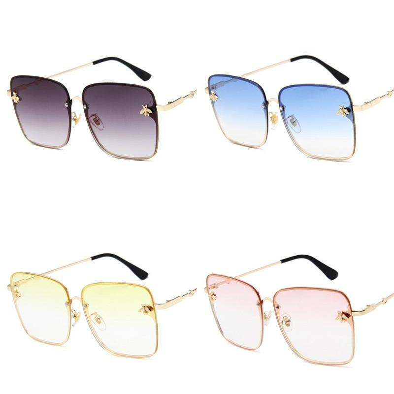 Large Frame Sunglasses For Lady Little Bee Sunglass Golden Metal Frames Sun Glass Pink Yellow Purple Square Popular 10 8mg D1