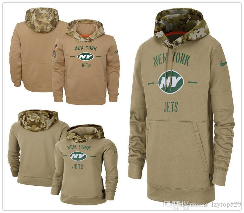 New York Men Women Youth American football Sweatshirt Jets 2019 Salute to Service Sideline Therma Pullover Hoodie Tan