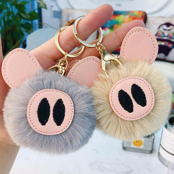 Red Purple Rabbit Fur Ball Key Chain Cute Pig Leather Keychain Women Gift House Car Key Ring Bag Pendant