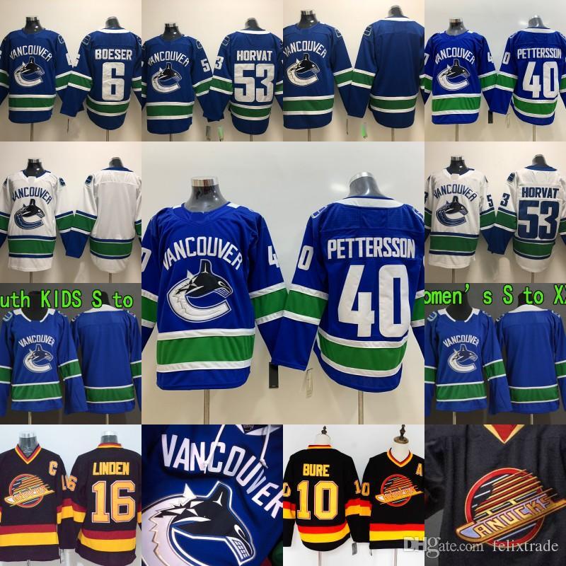 meet 1386a 6c62d Vancouver Canucks 40 Elias Pettersson 53 Bo Horvat Brock Boeser Flying  Skate 16 Trevor Linden 10 Pavel Bure Jerseys