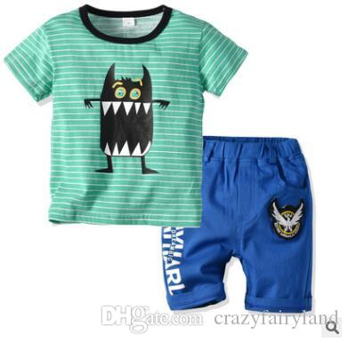 97f1eb553c1ec 2019 Boys Clothing Set 2019 Summer Short Sleeve Cartoon Monster Striped Tops  Kids Boy Clothing Set T Shirt Shorts Pants Cotton Boys Clothes 2 6T From ...
