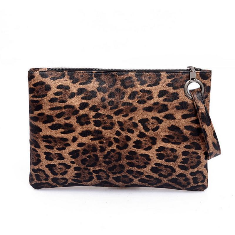 Women's Pu Leopard Print Evening Clutches Hand Bags Temperament Elegant Retro Fashion Clutch Bag Vintage Handbag Ladies Handbags
