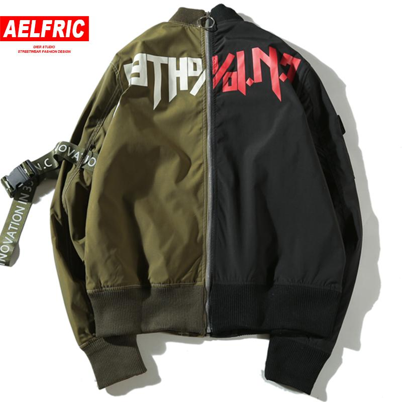 AELFRIC Full Zipper Casual Vestes Manteaux Hommes Mode Outwear 2018 Couleur Bloc Base Jacket Hip Hop Harajuku Streetwear QA11