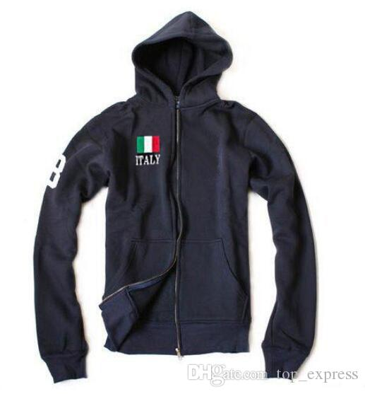 New Italy Flag Men Polo Casual Hoodies Big Horse Embroidery Hip Hop Solid Hooded Sweatshirts Skateboard Mens Pullover Hoody Male Sport Coat
