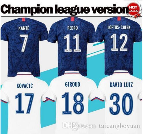 Champion league version Home Blue soccer Jerseys #7 KANTE #10 WILLIAN 19/20 New Season #22 PULISIC away white football uniforms On Sale