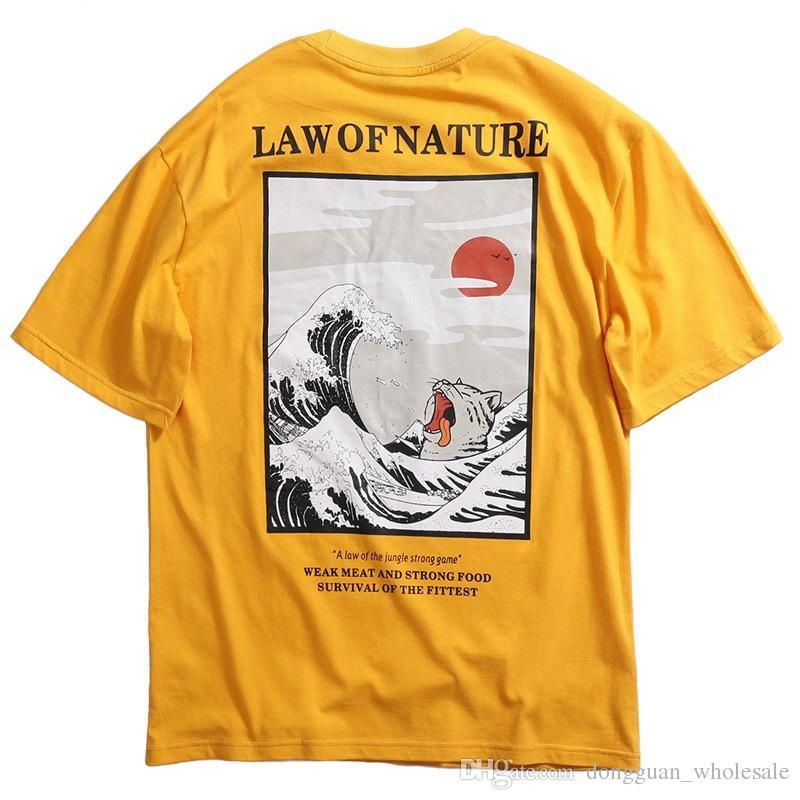 b98ad2ff97d622 2019 Men T Shirt Hip Hop Funny Cat T Shirts Harajuku Japanese Tshirt  Streetwear Embroidered Summer Cotton Tops Tees Short Sleeve T Shirt Humor T  Shirt With ...