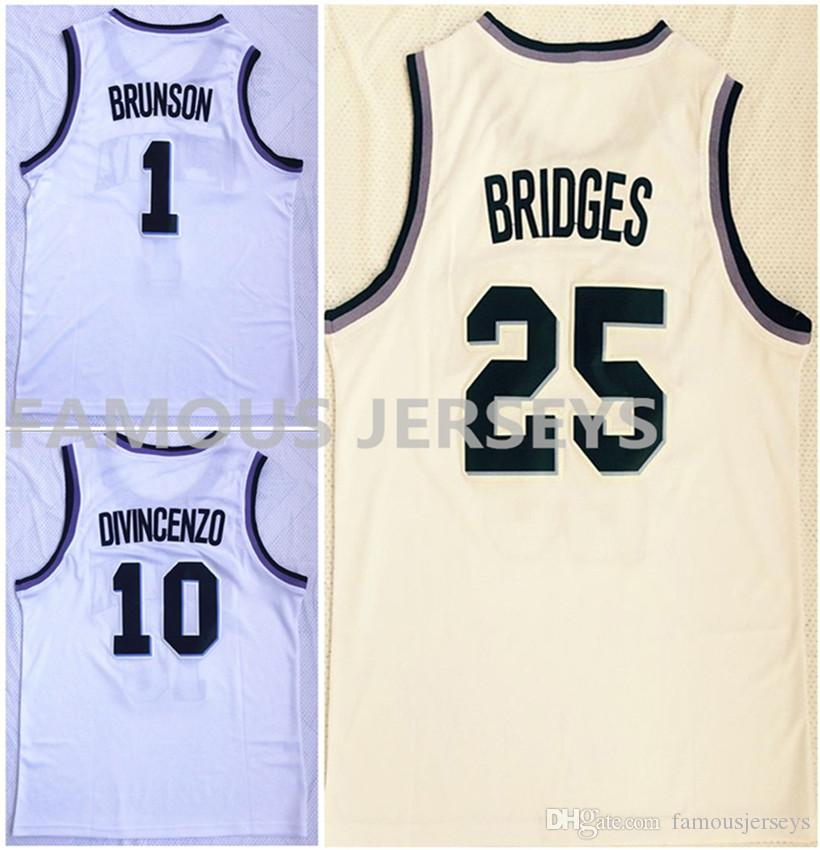 164ae1614e6e 2019 Stitched Wear Villanova College Basketball Jerseys Wildcats Player  1  Jalen Brunson 10 Donte DiVincenzo 25 Mikal Bridges White Game Uniform From  ...