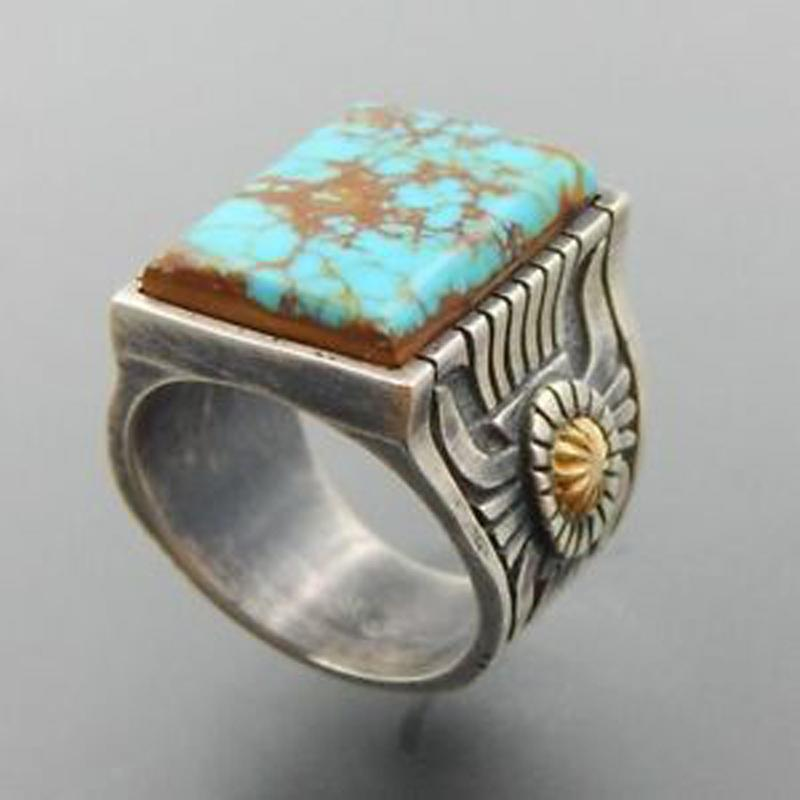 Vintage sunflower Square Imitation turquoise finger rings size 6 7 8 9 10 women Men Cocktail party jewelry factory Dropshipping
