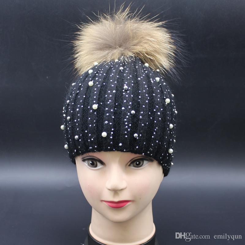 d0b1da169eb Women Beanie Hats Rabbit Fur Knitted Caps for Women Warm Casual Hat ...
