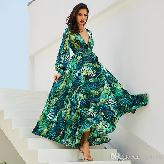 2019 New Women Maxi Dress Boho Tropical V Neck Lace Up Green Print ... a929ed8f786b