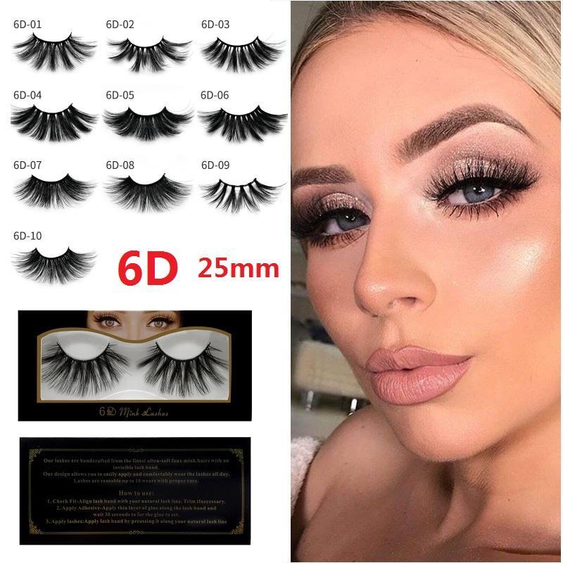 eb8c9af45fb Natural 6D Faux Mink Hair False Eyelashes 25mm Long Lashes Extension Thick  Wispy Fluffy Handmade Eye Makeup Tools Grow Eyelashes Individual Eyelash ...