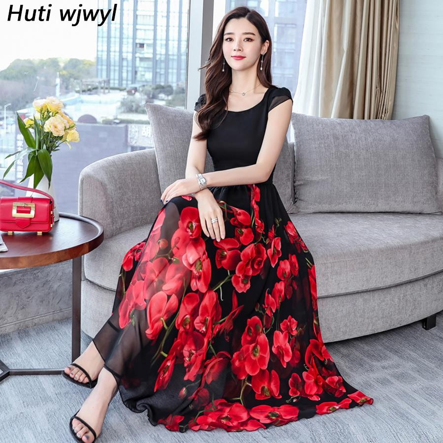 e70f48a396642 2019 Vintage Floral Chiffon Boho Midi Dresses Summer Plus Size Beach  Vacation Maxi Sundress Elegant Women Bodycon Party Vestidos