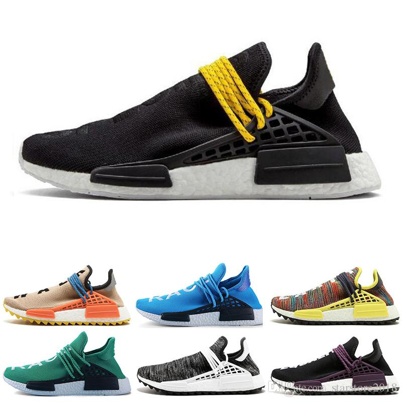 2db912d287078 2019 Wholesale Human Race Hu Trail X Pharrell Williams Nerd Men Running  Shoes White Equality Mens Trainers For Women Sports Sneaker Size 36 47 From  ...