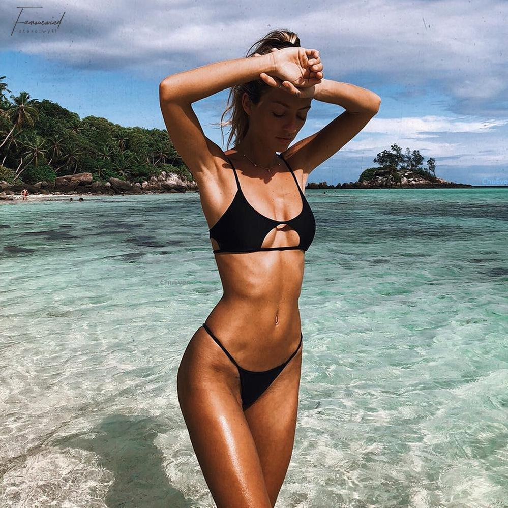 2019 Woman Girl Swimsuit String Bikini Set Two-piece Suits Black And Red Solid Micro Bikinis Sexy Bathing Suit Tankini Polyester
