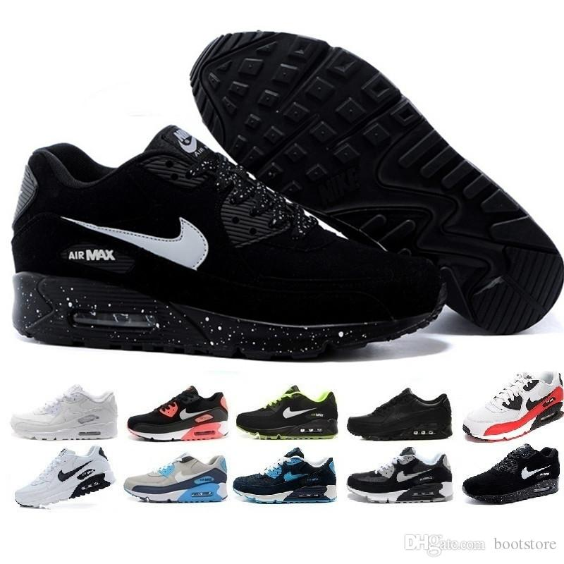 4131392c7 Compre Nike Air Max 90 Airmax Barato 90 Hombres Mujeres Zapatos Corrientes  Triple Negro Blanco Trigo Núcleo Oreo Deporte Azul Fresco Gris Rojo Hombres  ...