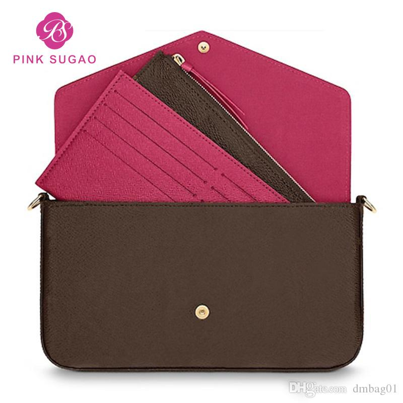 Pink Sugao designer handbags crossbody bag purse women luxury purse shoulder bag 3pcs/set Lletter 2019 new style genuine leather with box