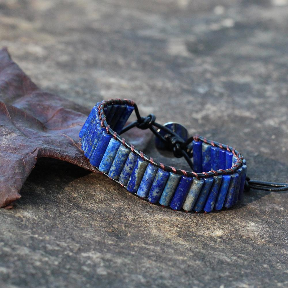 ZMZY HandmadeTube Forma Lapislázuli Pulseras Del Abrigo de Cuero de Piedra Natural Vintage Tejer Con Cuentas Cuff Charm Bracelet Mujeres